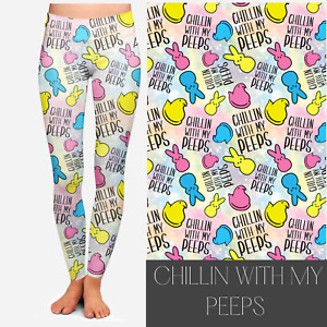 Chillin With My Peeps Easter Leggings  with Pockets in OS, TC2, Tween, or kids