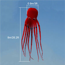8m 26ft 1 Line Stunt Fabric Octopus Kite Toy Children's Party Gift Red Outdoor !