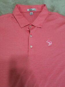 Peter Millar Golf Polo Shirt Men's Size XXL Summer Comfort Pink Stripes