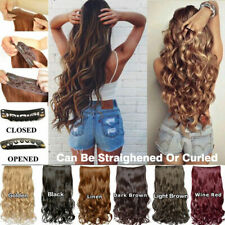 UK Real Long Clip in Hair Extensions One Piece Half Full Head Straight Curly AAA