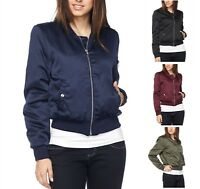 NEW Women SILKY SMOOTH MILITARY Bomber Jacket Coat Lightweight REG N PLUS S-3X