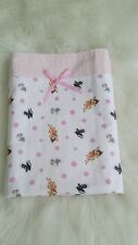 "New Baby Girl's ""Bambi & Thumper"" Bassinet/cradle/pram quilt in baby pink/white"
