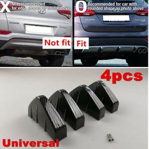 4x Carbon Fiber Rear Bumper Lower Air Diffuser Fin Spoiler Protector For Car SUV