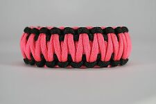 550 Paracord Survival Bracelet King Cobra Black/Pink Camping Tactical