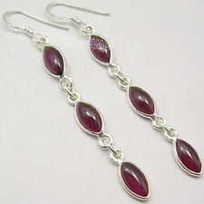 "925 Sterling Silver CABOCHON RED GARNET 3 Gem LONG Dangle NEW Earrings 2.6"""