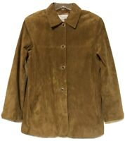 Norm Thompson Womens Brown Suede Leather Button Shirt Jacket Size 12