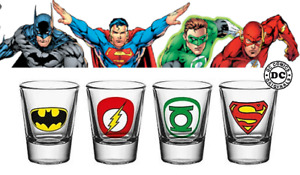 Vaso de Chupitos Set - DC Comics - Flash Batman Green Lantern Vidrio Shot SD