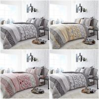 HELSBY NATURAL Duvet Cover Reversible Abstract Quilt Bedding Bed Pillowcase Sets