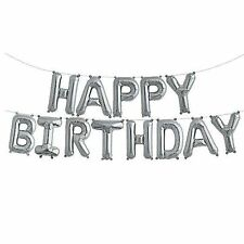 """14"""" Silver Happy Birthday Balloon Banner Kit - Air Fill only - Party Balloons"""