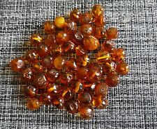 Cognac Natural Baltic Amber Loose Round beads with holes. 62 gram.