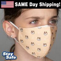 CHILD size SHIBA INU Face Mask –INCLUDES 2 FILTERS –30+ Custom Kids Designs