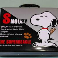 Snoopy attache case character bag metal briefcase clasp key lock travel used