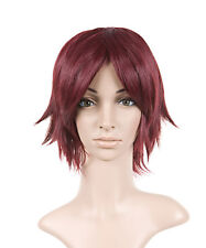 Magenta Red Styled Short Length Anime Cosplay Costume Wig