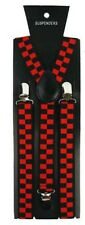 Unisex Fancy Dress Novelty Fashion Braces Red & Black Check Pattern Brand New