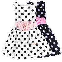 Polka Dots Flower Summer Dress Princess Girls Toddler Sleeveless Wedding Dress