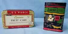 Vintage Advertising Tins Lithograph Epicure Fruit Cake And Barton's Almond Kiss