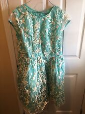 eShakti New Size XL 16 Embroidered Mint Teal Dress Wedding Plus Vintage Repro