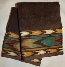 SET OR 2 BLK KITCHEN TOWELS WITH CATTLE BRANDS BORDER, WESTERN RUSTIC DECOR