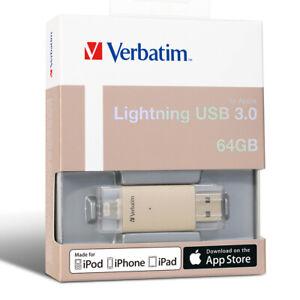 ($0 p&h) VERBATIM LIGHTNING USB 3 DRIVE 64GB for Apple iPhone iPad GOLD # 65079