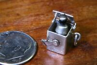 Vintage sterling silver JACK IN THE BOX MOVABLE LID LOCK charm