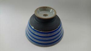 Arita Yaki, Japanese Ceramic, Rice Bowl, Blue, Stripe