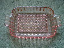 Beautiful Pink Depression Glass Dish with Handles