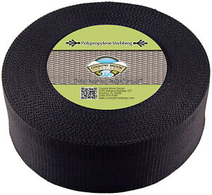 Country Brook Design® 3 Inch Black Heavy Polypro Webbing, 25 Yards