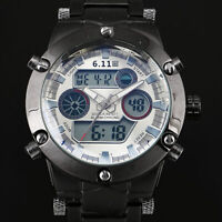 Mens Watch Quartz Digtial White Face Stainless Steel Case Date Display Luxury