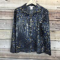 Exclusively Misook Zip Up Jacket Sm Blue Leopard Print Shimmer