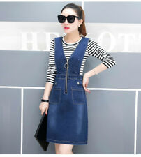 Womens Casual Denim Overall Skirt Suspender Jumper Strap Dress Blue Jean Skirt