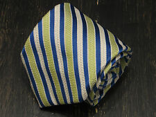 Luciano Barbera Italy Silk light green off-white blue striped neck tie