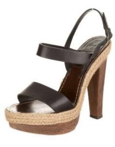 Christian Louboutin Espadrilles Wooden Heels Platforms Sandals Black 41 / 10