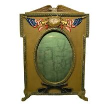 WWI Patriotic Cast Iron Picture Frame - Painted , Marked 9445 -  9x6.5""