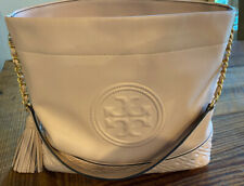 Tory Burch Fleming Hobo Handbag Tote Shell Pink Leather With Dust Bag