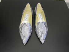 NEU Jimmy Choo flache Schuhe Ballerinas flat shoes faux snake grau D37,5 UK4,5
