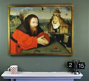 Old Masters Giclee museum print on canvas Temptation by Bosch, 30x23in Framed