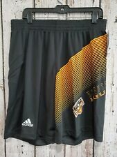 LZ Adidas Men's Large Houston Dynamo Slinky Black Drawstring Athletic Shorts NEW