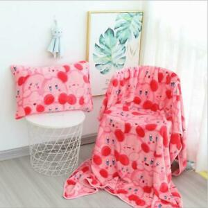 Pink Star Kirby Blanket Flannel Blanket Cute Cartoon Pillow Case Pillow Cover