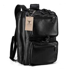 Black Mens Leather 14''Laptop Backpack Messenger Shoulder Luggage Travel Handbag