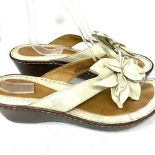 Born Cream Thong Flower Wedge Sandals Women's Size 10