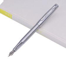 Duke 209 Stainless Steel Fountain Pen Mediun Size Nib Smooth Pen, Pure Silver