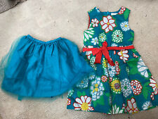 MINI BODEN girls Retro Flower Dress And Net Underskirt Age 4-5 Years