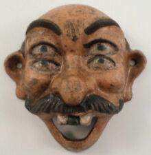Cast Iron Metal Bottle Opener 4 Eye Drunk Man With A Mustache Antique Patina