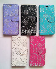 Diamond Flip Leather Card Wallet Case Cover For Samsung Galaxy Mobile Phones