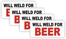 4x WELD FOR BEER Hard Hat Stickers | Motorcycle Helmet Decals | Funny Welder