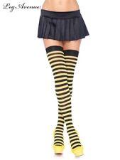 Leg Avenue Costume Thigh High Socks Stockings Black Yellow Bee Striped 6005