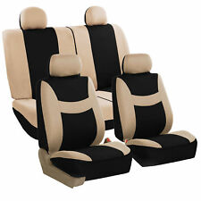 Car Seat Covers Beige Full Set for Auto SUV VAN w/4Headrests