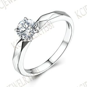 Cubic Zirconia Prong Solitare Wedding SZ6.5# Solid 14K White Gold Ring