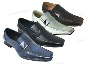 Brand New Mens Dress Shoes Casual Loafers Elastic Slip On Fashion Buckle Italian