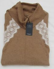 Ladies Marks and Spencer Camel Mix Cowl Neck Long Jumper With Lace Trim Size 18